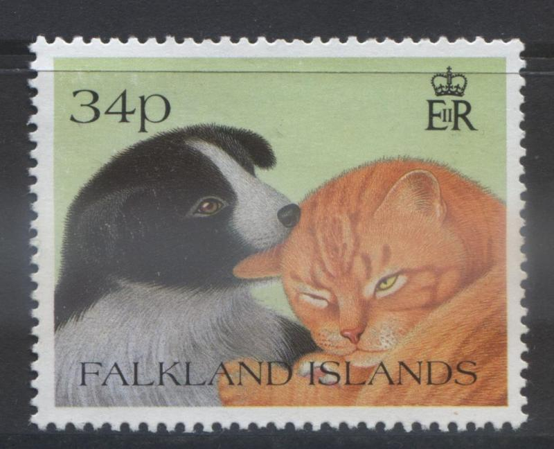 Falkland Is.- Scott 590 - Puppy & Kitten- 1990- MNH - Single 34p Stamp