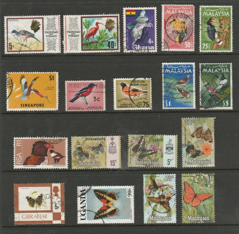 Birds and Butterfly Stamps. 18 Good to Fine incl some higher values.