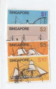 SINGAPORE # 345-348 VF-HIGH VALUES LIGHT USED CAT VALUE $16.15