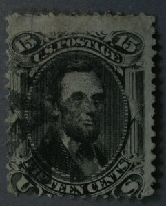 United States #77 15 Cent Lincoln Geometric Cancel Used Small Thin