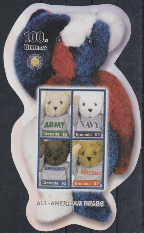 Grenada MNH S/S Armed Forces All American Bear