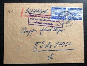 1943 Hasselfelde Germany Luftfeldpost Army Post Office cover