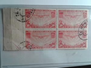 SCOTT # C22 USED AIR MAIL BLOCK OF 4 WITH TAB!! VERY NICE !! SCV $ 40