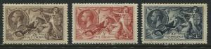 GB KGV 1934  Waterlow 2/6d, 5, and 10// Seahorses mint o.g.