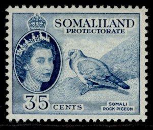 SOMALILAND PROTECTORATE QEII SG142, 35c blue, M MINT.