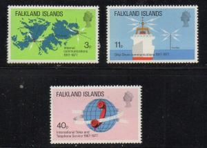 Falkland Islands Sc 257-9 1977 Telecommunications stamp set mint NH