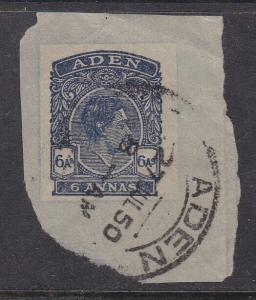 Aden 1950 George VI 6 annas Postal Stationary Cutout  VGC