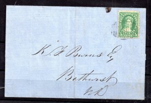 Canada New Brunswick 1866 5c green on cover to Bathurst WS15380