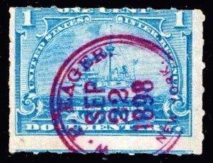USA STAMP REVENUE BOB  #R163 1C 1898 W. R. EAGER CANCEL STAMP