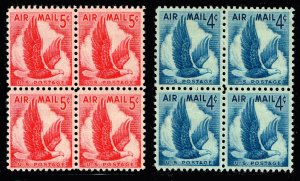 US STAMP #C48, 50 4, 5c Airmail Eagle MNH BLK OF 4