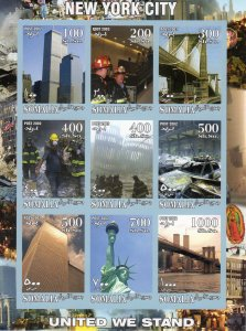 Somalia 2002 Twinn Towers /Fire Brigade/United we Stand Sheetlet (9) IMPERF.MNH