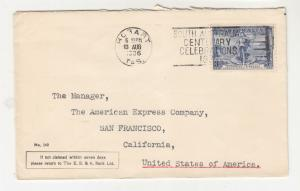 AUSTRALIA, 1936 E S & A Bank cover, 3d. Cable, Hobart to USA.