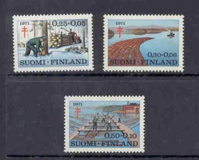 Finland Sc B191-3 1971 TB Lumbering stamp set mint NH
