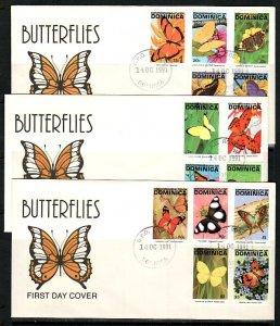 Dominica, Scott cat. 1378-1391. Butterfly Definitive values. 3 First Day Cvrs. ^
