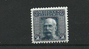 BOSNIA  & HERZEGOVINA 1906  5KR  GREY BLUE    PERF  9 1/2   MNH