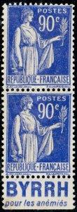 FRANCE - 1938 Paire Yv.368a 90c Paix t.I Pub BYRRH pour les anémies - sans gomme