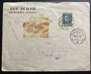 1927 Durres Albania Commercial cover To Novi Sad Serbia