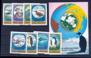 Mongolia 1980 Birds Penguins Antarctic Air Stamps & Sheet MNH (GX 585s