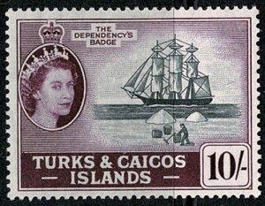 TURK & CAICOS Is. 1957 QE II 10/- BLACK & PURPLE UNUSED (MH) SG 250 Wmk.w12 VGC