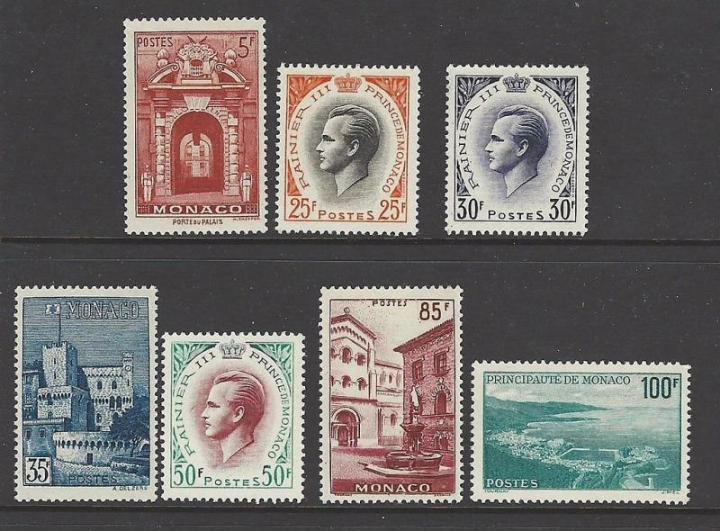 Monaco 1959 Prince Rainier Views VF MNH (423-9)
