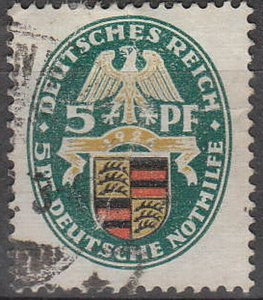 Stamp Germany Reich Mi 398 Sc B15 1926 Coats of Arms Wurttemberg Charity Used