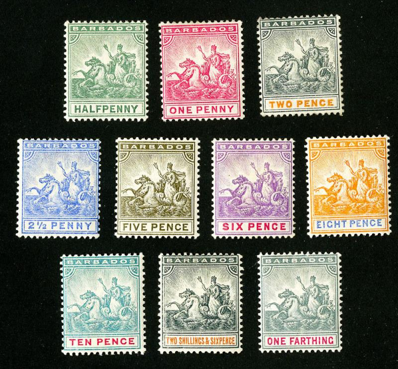 Barbados Stamps # 70-9 VF OG Hinged Set of 10 Scott Value $136.00