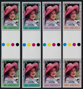Anguilla 394-7 Gutter Pairs MNH Queen Mother 80th Birthday