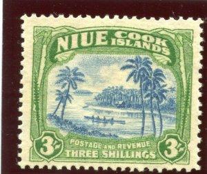 Niue 1938 KGVI 3s light blue & emerald-green MLH. SG 77. Sc 75.