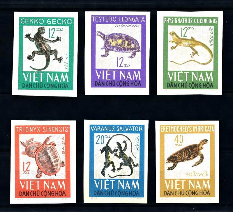 [92107] North Vietnam 1966 Reptiles Turtle Lizard Gecko Imperf. Set MNH