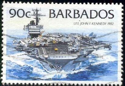 Aircraft Carrier, USS John F. Kennedy, Barbados SC#882 used