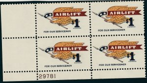 U.S. 1341, $1 AIRLIFT PL# BLOCK OF FOUR.. MINT, NH. VF (25)