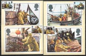 GB UK STAMPS, 1981, SET OF 4 MAXI CARDS MC MAXIMUM CARDS FISHING