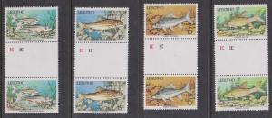 Lesotho - 1977 Fish Set Gutter Pairs VF-NH Sc. #237-240