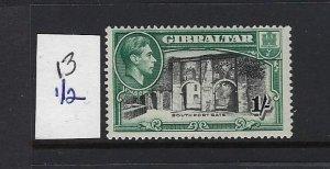 GIBRALTAR SCOTT #114B 1938-49 GEORGE VI- 1SH (GREEN/BLACK)-  PERF 13 1/2-MINT LH