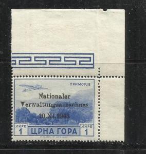 MONTENEGRO TEDESCA  CETTIGNE 1943 SERTO DELLA MONTAGNA SOPRASTAMPATO AEREA 1 ...