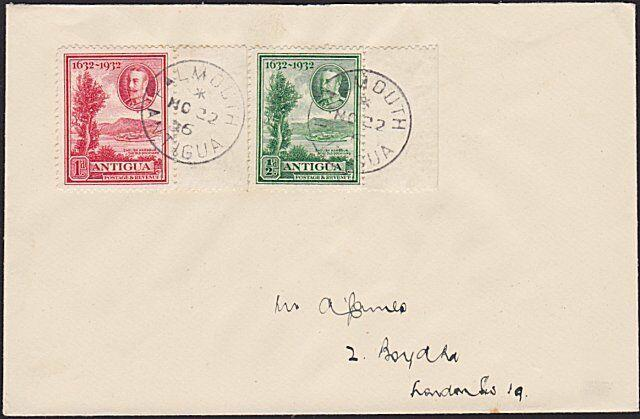 ANTIGUA 1936 cover to UK - FALMOUTH village cds.............................6568