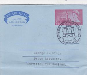 GB 1967 Chivenor Philatelic Exhibition 9d Air letter to Gonville New Zealand VGC