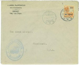 93719 - DUTCH INDIES Indonesia  POSTAL HISTORY - SINGLE stamp COVER to USA 1922