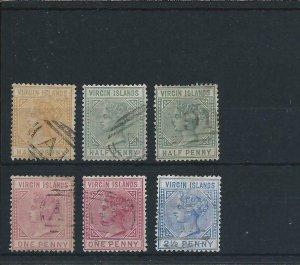 BRITISH VIRGIN IS 1883-84 SET OF FOUR PLUS ½d & 1d SHADES FU SG 26/31 CAT £255