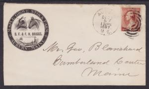 US Sc 210 on 1887 Maple Grove Stock Farm Advertising Cover, horse & cow