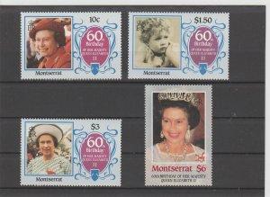 Montserrat  Scott#  600-603  MH  (1986 Queen Elizabeth's 60th Birthday)