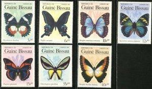 GUINEA-BISSAU Sc#604-610 1984 Butterflies Complete Set OG Mint NH Beautiful!