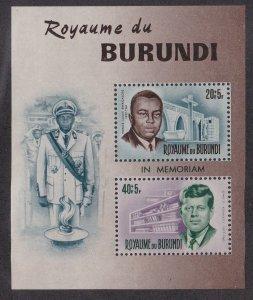Burundi # B27, John F. Kennedy Memorial Souvenir Sheet, NH 1/2 Cat.
