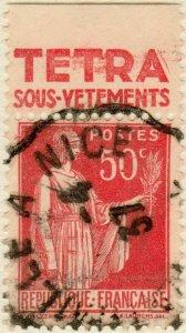 FRANCE - 1935 pub TETRA SOUS-VÊTEMENTS supérieure /Yv.283f 50c Paix t.III (C2)