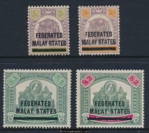 1900 Federated Malay States Stamps of Perak O/P Short set of 4 SG 9-12 MH