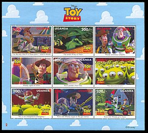 Uganda MNH S/S 1481 Disney's Toy Story 9 Stamps See Description