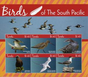 Tuvalu Stamps 2015 MNH Birds of South Pacific Booby Godwit Noddy Terns 6v M/S