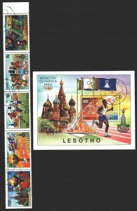 Lesotho. 1980. 291-95, bl 5. Moscow, summer olympic games. USED.