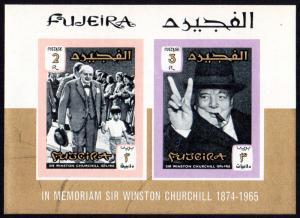 Fujeira Mi Block 3B (#68-69) mnh - 1966 Winston Churchill  imperf souvenir sheet