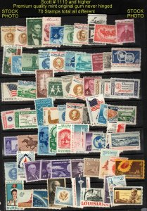 U S MINT #1110 and Higher 70 stamps total ⭐⭐⭐⭐⭐